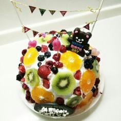 お誕生日ケーキ❤フルーツ水玉ケーキ