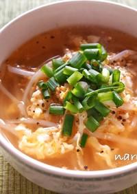もやしと卵の中華風スープ