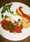 カジキ・牡蠣・海老のソテー トマトソース