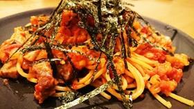 豚肉の塩麹焼きトマトソースパスタ