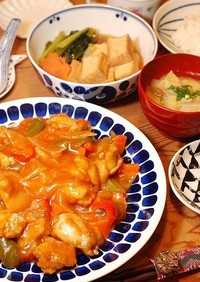 フライパンで簡単たっぷり餡の揚げない酢鶏