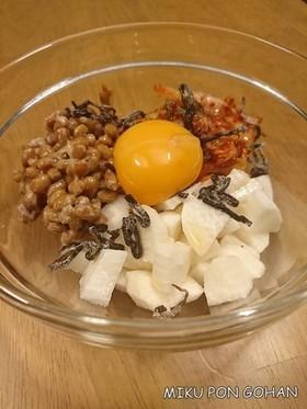 混ぜるだけ簡単!長芋とキムチの納豆和え