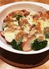 ブロッコリースモークチキンの味噌チーズ焼