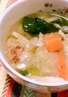 白だしで作る生姜と小松菜のスープ