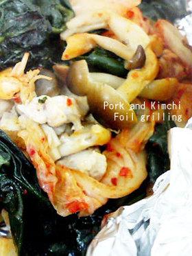 豚キムチのホイル焼き