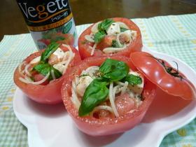 混ぜるだけトマトカップのお手軽冷製パスタ