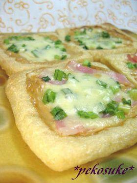 ねぎとオイマヨのお揚げピザ