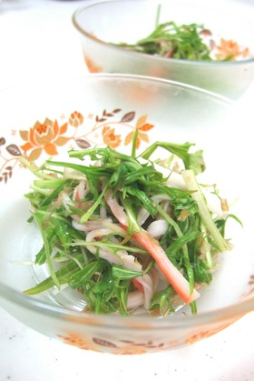水菜とカニカマのさっぱりサラダ♪