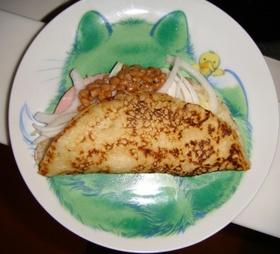 【3時】新玉&マヨ納豆のお好み焼きサンド