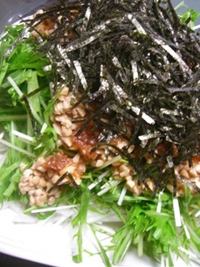 さっぱり☆水菜と納豆の梅サラダ