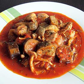 トマトで食べる茄と鶏肉