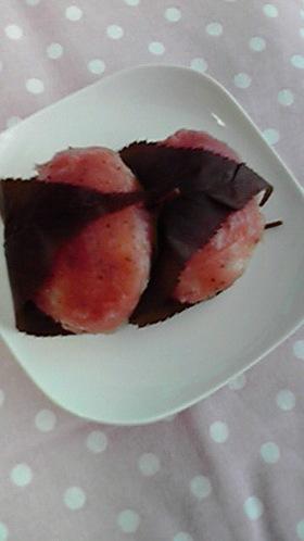 余ったおはぎのもち米&米で☆桜のおはぎ