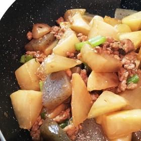 大根とひき肉の甘辛炒め煮