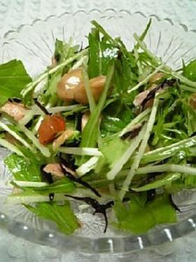 水菜と大豆とひじきのサラダ
