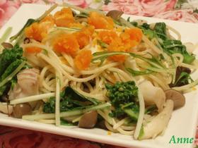 水菜と鱈の春パスタ
