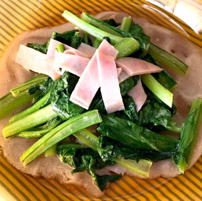【無限小松菜】小松菜とハムのマヨ炒め