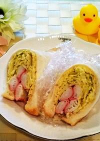 カニカマとコンビニキャベツのサンドイッチ