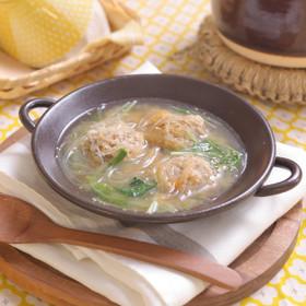 ごぼう鶏団子の甘酒春雨スープ