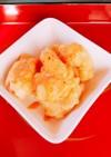 卵白でエビのフリッター。辣油で海老マヨ風