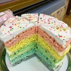 クリスマスに簡単かわいいレインボーケーキ