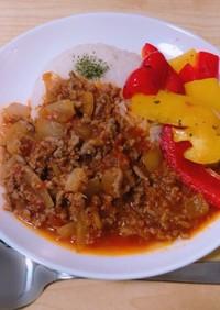 トマトミートとパプリカのガパオ風ライス
