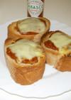おフランスパンピザ風トースト(余り物で)