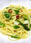鮮やか山東白菜でペペロンチーノ