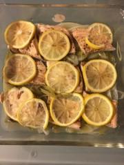 サーモンのレモン蒸しの写真