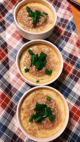鶏肉のゆで汁を使った中華風茶碗蒸し