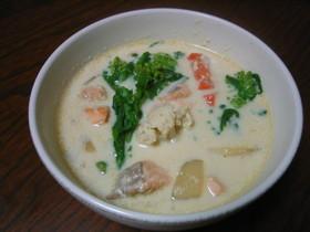菜の花とサーモンの豆乳スープ