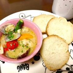 あさりのアヒージョ風スープ
