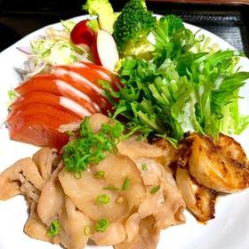 豚バラと蕪のにんにく醤油焼き 野菜色々