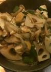 蓮根と厚揚げの胡麻だれ煮・大葉風味