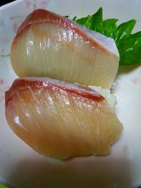 簡単 生姜湯でハマチの握り寿司