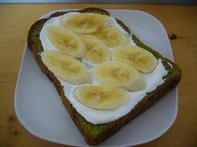 抹茶食パンでホイップバナナサンド♡
