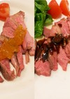 絶品!2種類のソースで鴨肉のロースト