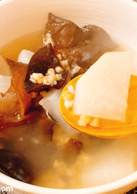 大根ときくらげと蕎麦の実のスープ