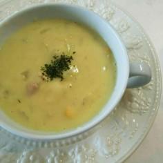 白菜 玉葱 ベーコンの豆乳コーンスープ