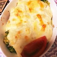 里芋豆腐のソースグラタン