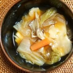 白菜と焼売の皮のスープ