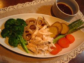 蒸し鶏&蒸し野菜☆コッテリ葱ソースで☆