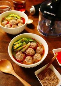 レンチン♪白菜と香味肉団子の中華スープ