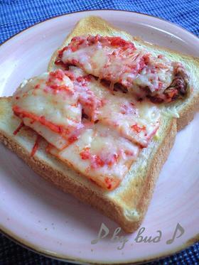 【朝ご飯】ビールにも♪キムチーズトースト