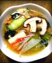 とろ~り温かチンゲン菜と豆腐生姜スープの写真