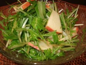 水菜とりんごのさっぱりサラダ