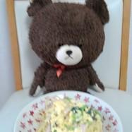 卵牛乳で、カルボナーラ風小松菜スパ