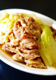 豚こま・白菜・白ねぎ★すき焼き風煮。の写真