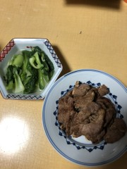 ラム肉の中華味噌焼きチンゲン菜添えの写真