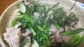 簡単中華・豚肉と春菊のニンニク塩炒め