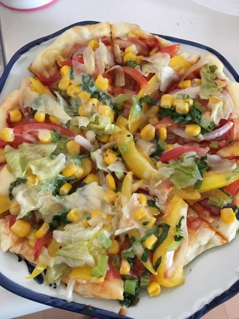 野菜たっぷりフライパンdeピザ